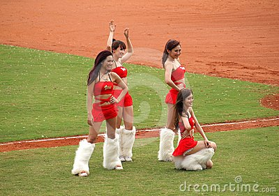 Cheerleaders Pose for the Fans Editorial Photography