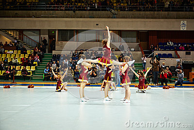 Cheerleaders team Cherry performs at Championship Editorial Image