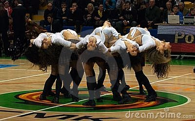 Cheerleaders team UMMC.  Euroleague 2009-2010. Editorial Stock Photo