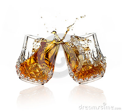 Cheers. A Toast with whiskey. Two glasses clicking together over white ...