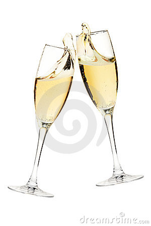 Free Cheers! Two Champagne Glasses Royalty Free Stock Photos - 16973888