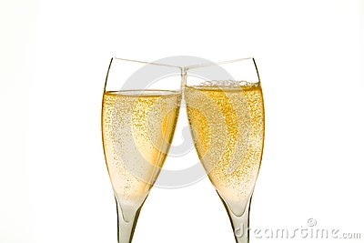 Cheers, two champagne glasses with gold bubbles