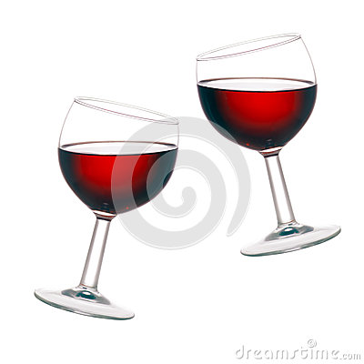 Free Cheers! Two Glasses Of Red Wine, Tilted, Isolated  Royalty Free Stock Image - 43393536
