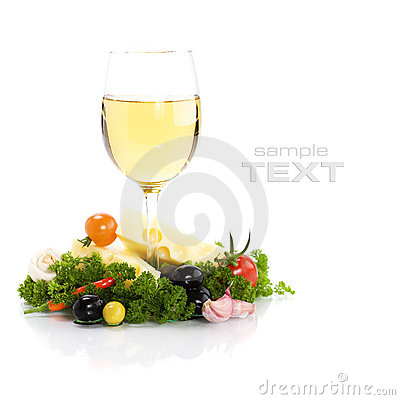 Free Cheese And White Wine Stock Image - 13636151