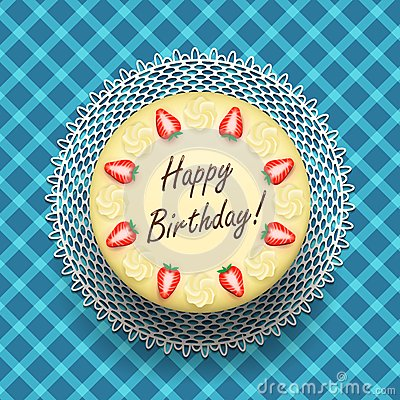 Free Cheese Birthday Cake With Strawberries Royalty Free Stock Images - 36448559