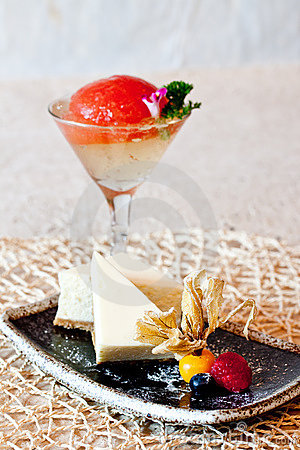 Cheese Cake & Tomato Jelly in Champagne