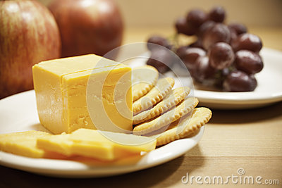 Cheese, Crackers, and Fruit - Closeup
