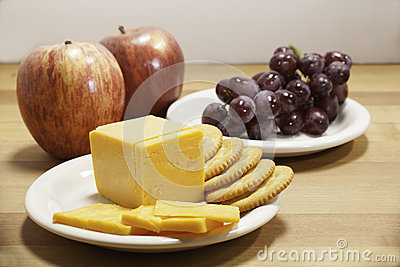 Cheese, Crackers, and Fruit
