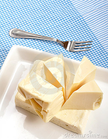 Cheese with fork