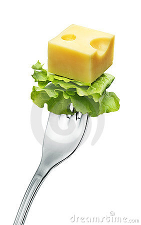 Cheese on a fork