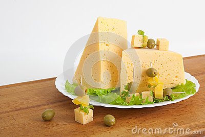 Cheese with greens and olives