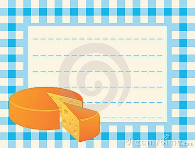 Cheese loaf on chequered background