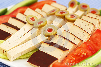 Cheese, olives and vegetables