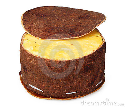 Cheese packaging made of birch bark