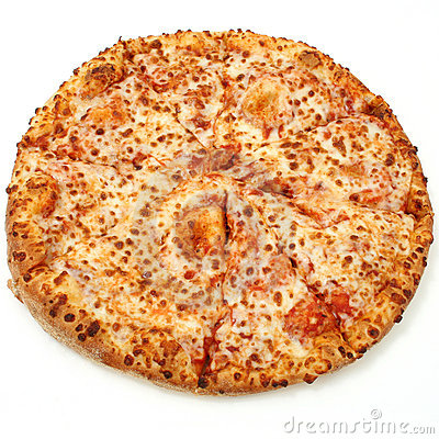 Free Cheese Pizza On White Background Royalty Free Stock Photography - 79167