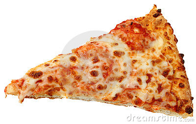 Cheese Pizza Slice Over White Background