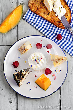Cheese plate with fruits