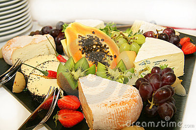 Cheese platter with different types of cheese