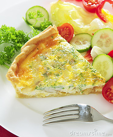 Cheese quiche vertical with salad