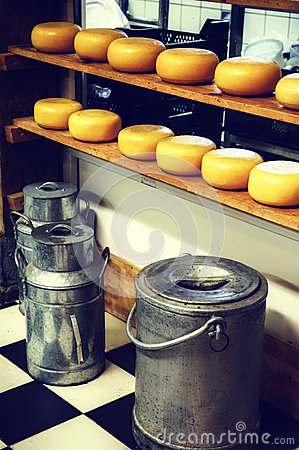Free Cheese Rounds And Milk Cans In Small Dairy Factory Stock Photo - 46252020