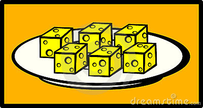Cheese snack dish vector illustration