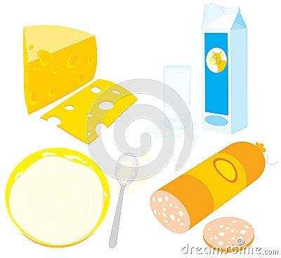 Cheese, sour cream, kefir, milk and sausage