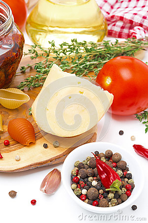 Cheese, spices, tomato and olive oil