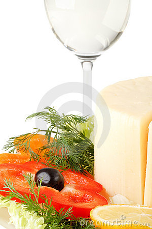 Cheese with vegetables and wine