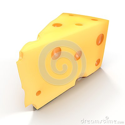 Free Cheese Wedge On White. 3D Illustration Royalty Free Stock Photography - 83587087