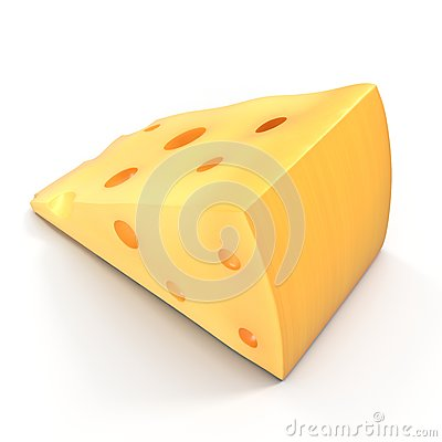 Free Cheese Wedge On White. 3D Illustration Royalty Free Stock Photo - 83587115