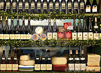 Cheese and wine Editorial Stock Image