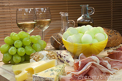 Cheese, Wine, Grapes, Bread Parma Ham & Melon