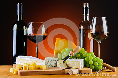 Cheese, wine and grapes