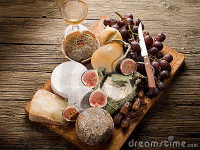 Cheeseboard  with cheese and fruit