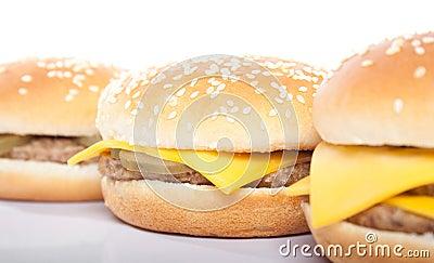 Cheeseburger and hamburger