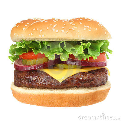 Free Cheeseburger Hamburger Isolated On White Stock Image - 5829011