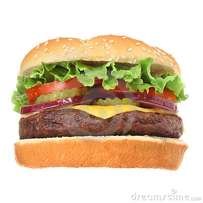 Free Cheeseburger Hamburger Isolated On White Stock Photography - 5829012