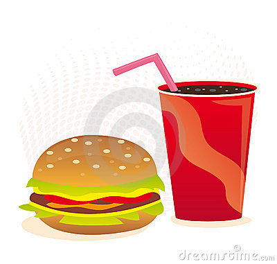 Cheeseburger and soft drink
