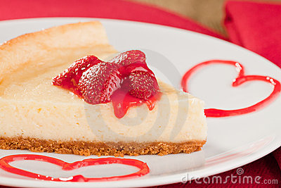 Cheesecake dessert with strawberries