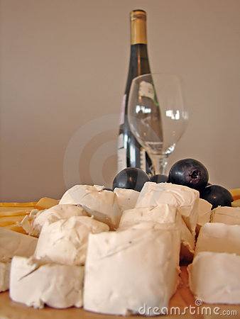 Free Cheeses Plate And Bottle Of Wine Stock Photos - 709593