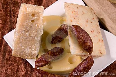 Cheeses and sausages