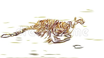 Cheetah running pencil draw cartoon animation seamless endless loop new quality unique handmade dynamic joyful colorful stock video