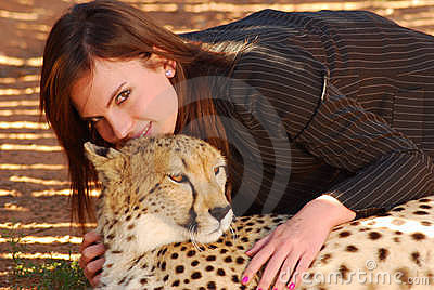 Cheetah and woman