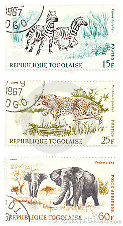 Free Cheetah, Zebras, Elephants Post Stamps Royalty Free Stock Photos - 2068978