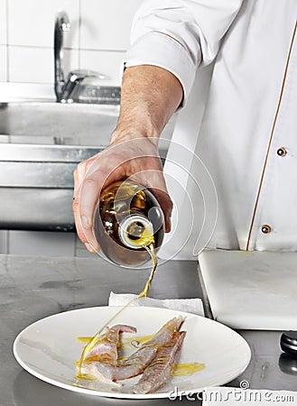 Chef add oil