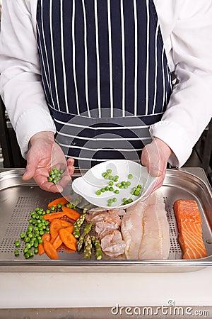 Chef add peas