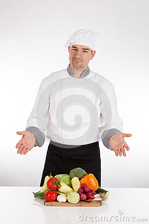 Free Chef And Fresh Vegetable Stock Images - 40174094