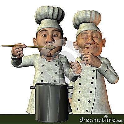 Chef avec du potage chaud