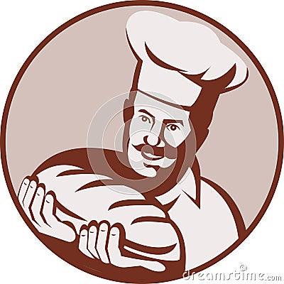 Chef baker holding loaf bread