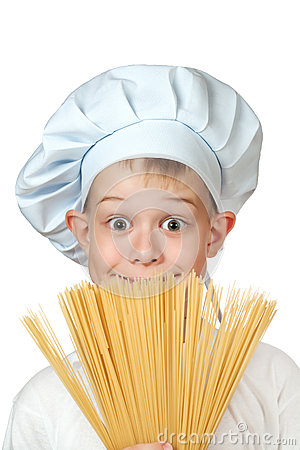 Chef boy is hiding behind a spaghetti